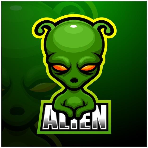 Alien mascotte esport illustration