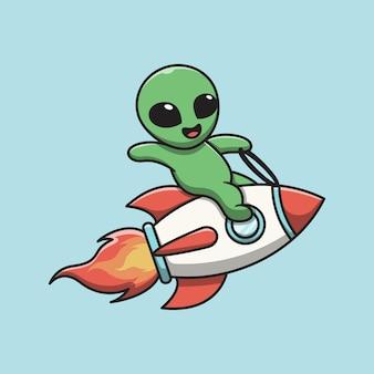 Alien mignon assis sur une illustration de dessin animé de fusée