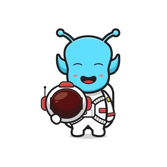 Alien mignon portant l'illustration d'icône de dessin animé de costume d'astronaute. concevoir un style cartoon plat isolé