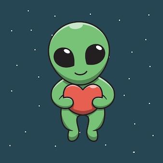 Alien mignon tenant l'amour dans l'illustration de dessin animé de l'espace
