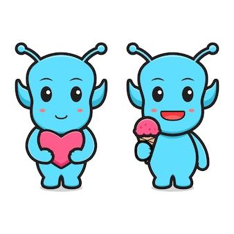 Alien mignon tenant l'icône de dessin animé d'amour et de crème glacée