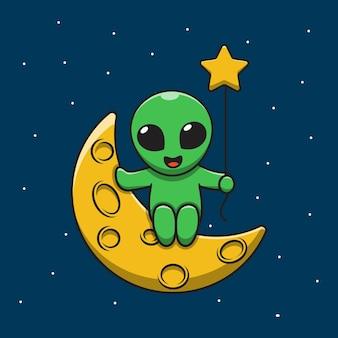 Alien mignon tenant illustration de dessin animé de lune ballon étoile