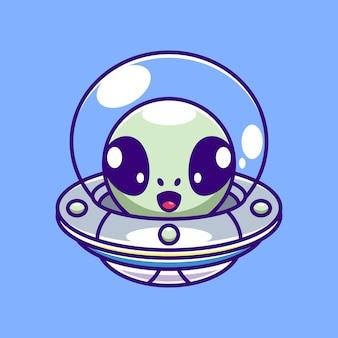 Alien mignon volant avec dessin animé ovni de vaisseau spatial