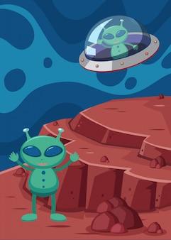 Alien et ovni dans l'espace