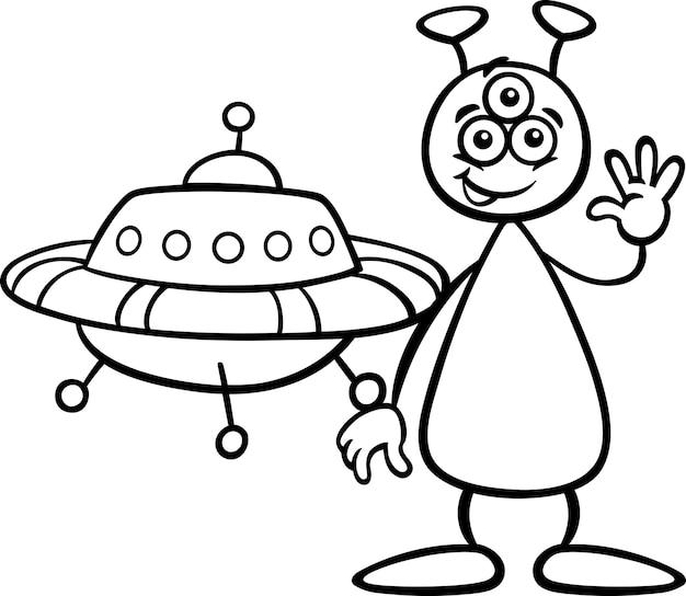 Alien avec ufo pour livre de coloriage