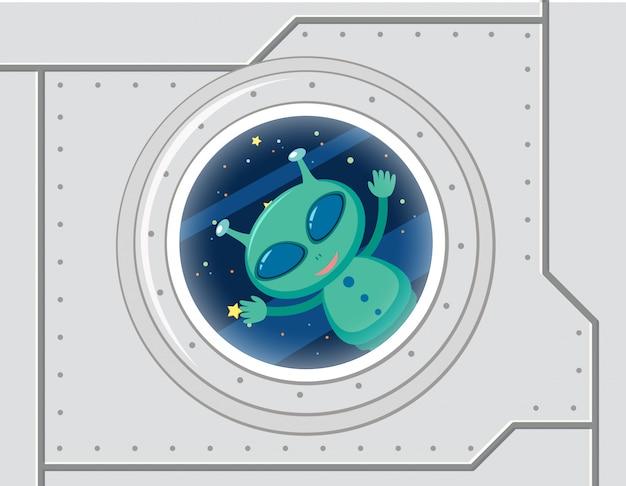 Alien vert dans l'espace