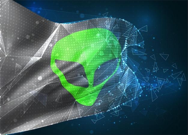 Alien vert du drapeau vectoriel de l'espace, objet 3d abstrait virtuel à partir de polygones triangulaires sur fond bleu