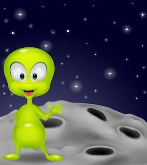 Alien vert mignon, agitant la main