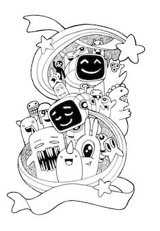 Aliens dessinés à la main