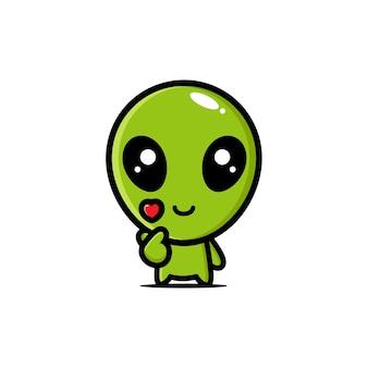 Aliens mignons posant l'amour du doigt