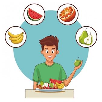 Alimentation équilibrée jeune homme