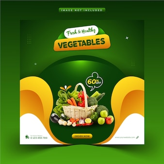Alimentation saine légumes et épicerie médias sociaux post instagram et modèle de bannière web
