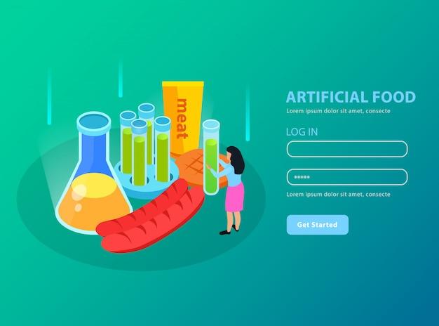 Aliments artificiels produits de viande génétiquement modifiés et équipement chimique sur gradient isométrique turquoise