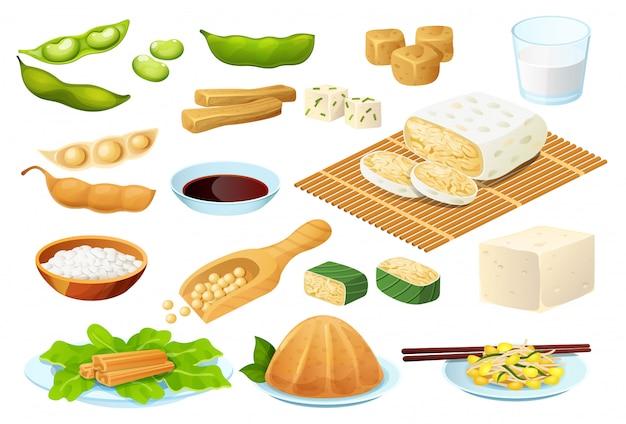 Aliments à base de soja sur blanc, repas protéiné végétarien, collecte d'une alimentation saine, illustration