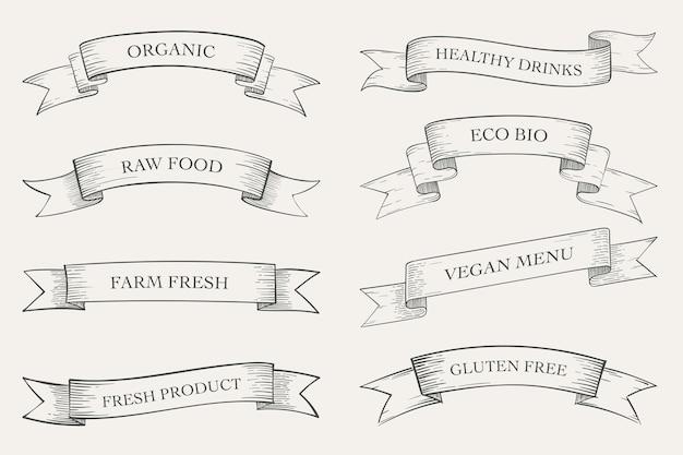Aliments biologiques, collection de bannières de produits eco.