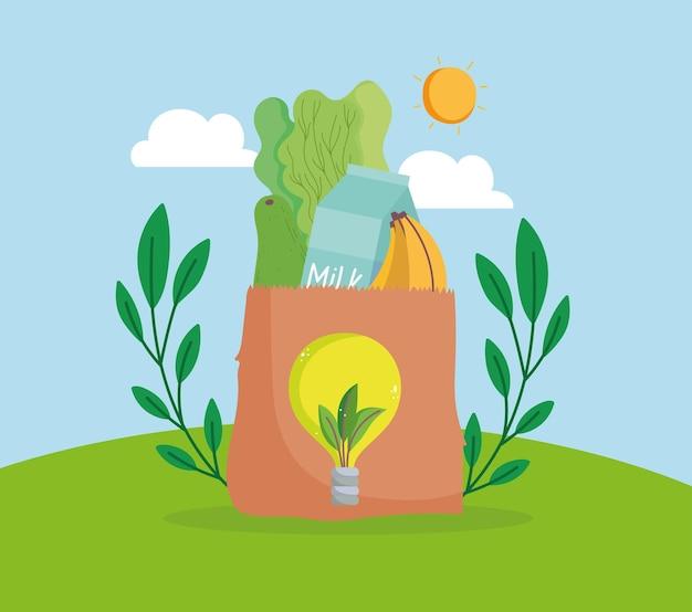 Aliments d'épicerie en sac écologique
