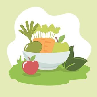 Aliments frais dans un bol