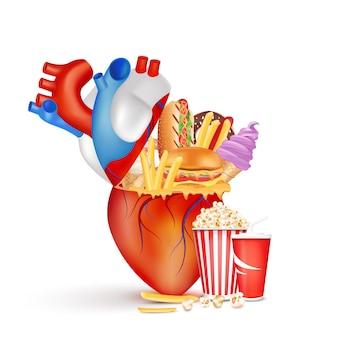 Aliments mauvais pour le cœur nourriture grasse et riche en calories alimentation dangereuse pour la santé coronarienne
