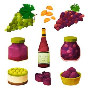 Aliments de raisins, produits à base de fruits, bonbons et ingrédients de vecteur de pâtisserie.