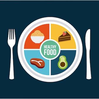 Aliments sains au cours de l'illustration vectorielle fond bleu