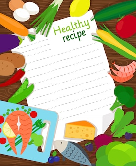 Des aliments sains cuisson modèle vierge de vecteur de papier recette