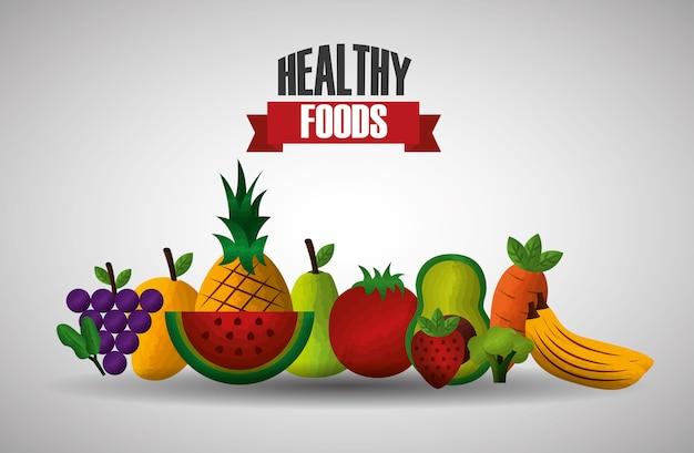 Aliments sains équilibrés fruits et légumes