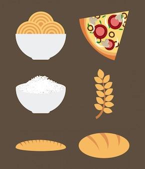 Aliments sains sur illustration vectorielle fond marron