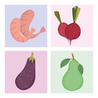 Aliments sains sertie de crevettes à la betterave aubergine et illustration de poire