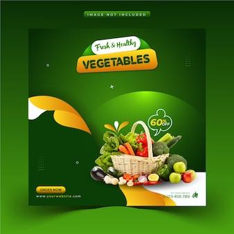 Aliments sains uniques modèle de publication instagram et de bannière web pour les médias sociaux de légumes et d'épicerie