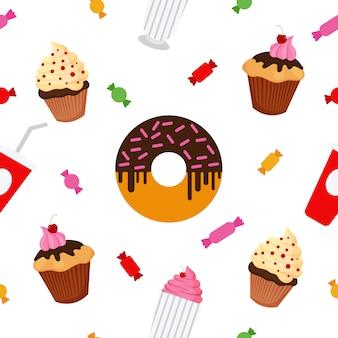Aliments sucrés. fast food. gâteau, beignet, bonbons, chocolat, muffins. modèle sans couture. fond d'écran de célébration