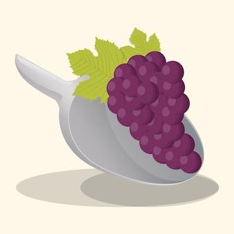 Aliments végétaliens raisins frais