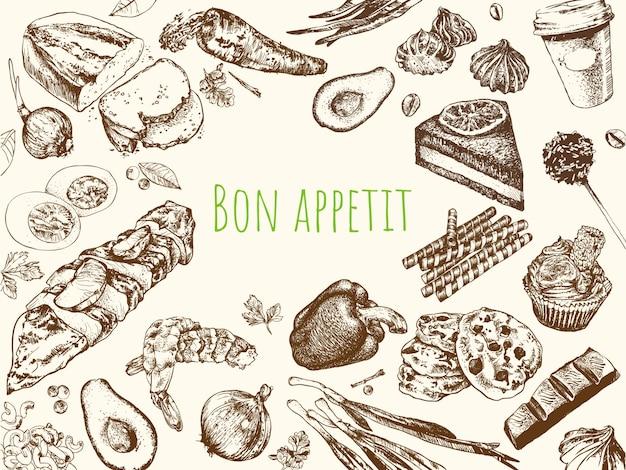 Aliments vintage dessinés à la main.