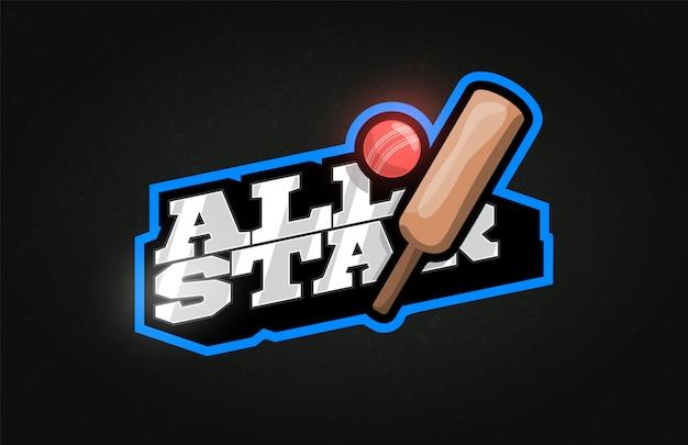 All star logo de l'emblème de style rétro sport typographie professionnelle moderne cricket.