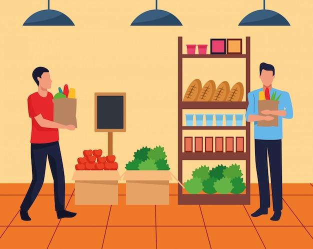 Allée de supermarché avec des étagères et des clients tenant un sac de supermarché