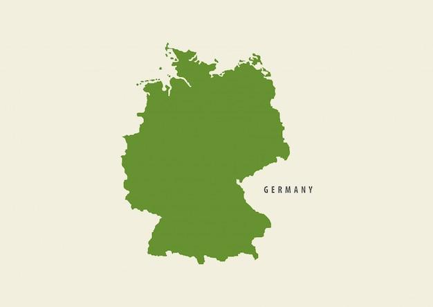 Allemagne carte verte isolée sur fond blanc