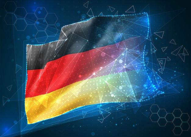 Allemagne, vecteur drapeau 3d sur fond bleu avec interfaces hud