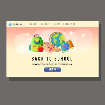 Aller à l'école éducation page d'atterrissage étudiant objet d'école