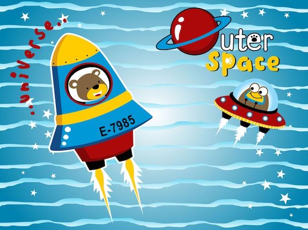 Aller à l'espace sur le vaisseau spatial avec dessin animé drôles d'animaux