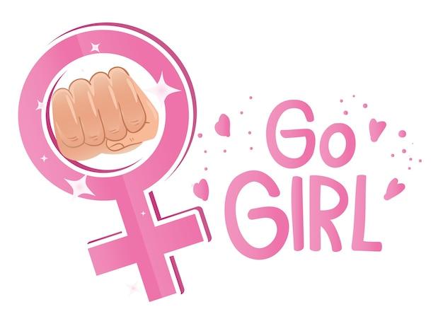 Aller fille lettrage avec le poing de la main dans la conception de symbole de genre féminin