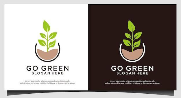 Aller vecteur de conception de logo feuille verte