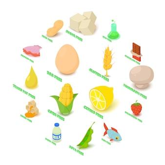 Allergie libre icônes set nourriture, style isométrique