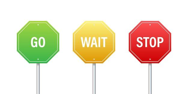 Allez, attendez et arrêtez les panneaux de signalisation. jeu de couleurs. illustration vectorielle
