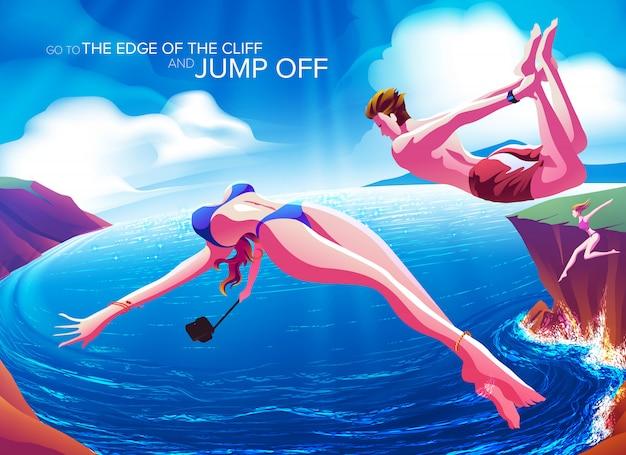 Allez au bord de la falaise et sautez