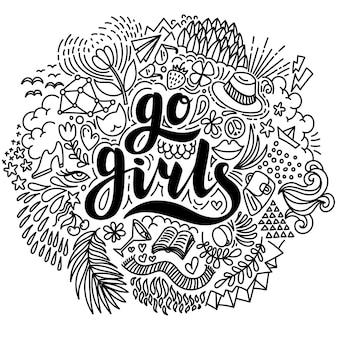 Allez les filles lettrage dessiné à la main