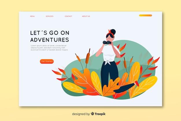 Allez sur la page de destination de l'aventure