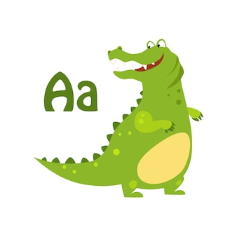 Alligator. alphabet drôle, animal