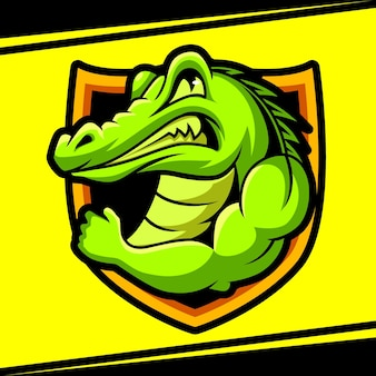 Alligator mascotte forte esport logo vector illustration