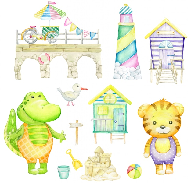 Alligator, tigre, mouette, château de sable, phare, maison de plage, boule. aquarelle sur fond blanc.