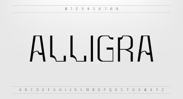 Alligra une police de caractères numérique moderne avec une combinaison de coins carrés et arrondis