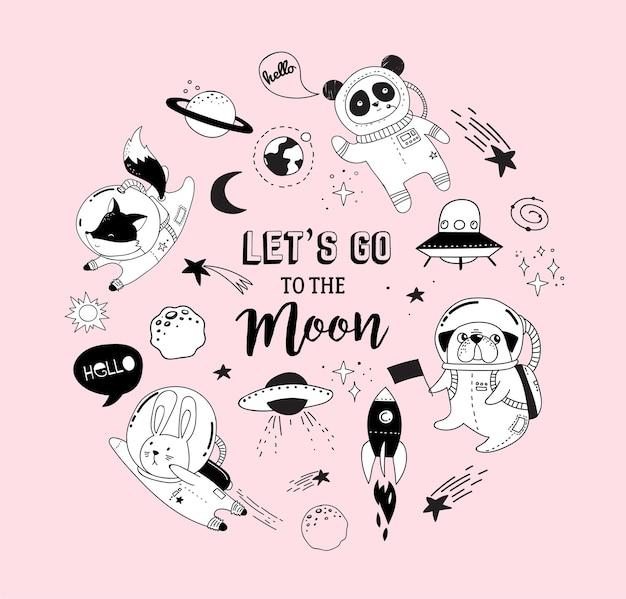 Allons au concept humoristique de la lune
